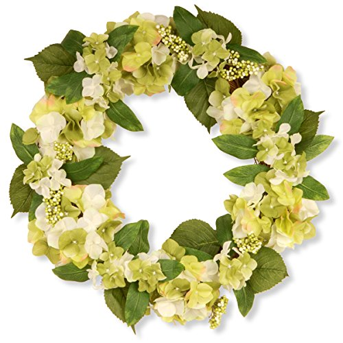 National Tree 24 Inch Floral Wreath with Cream Hydrangea Flowers (GAHB30-24WC)