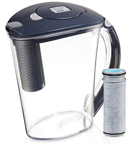 Brita 10 Cup Stream Filter as You Pour Water Pitcher with 1 Filter, Rapids, BPA Free, Carbon Gray (Pour Through Water Filter)