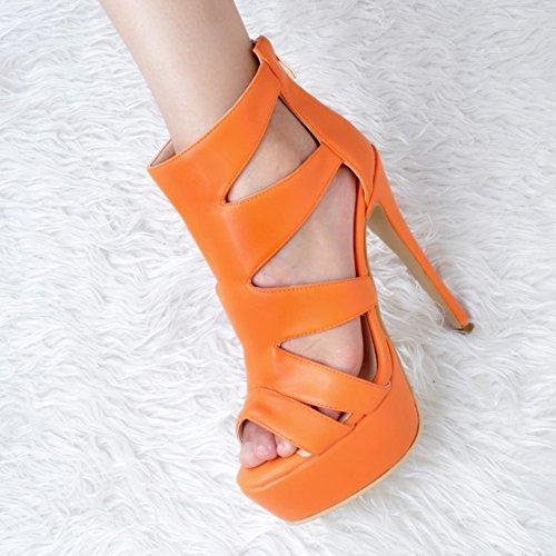 Kolnoo Sexy 14cm Peep Chaussures Fashion Plateforme Orange Femmes De Talons Handmade À Partie Toe Hauts Sandales rrTpq