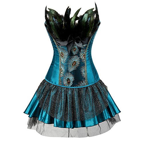 Dezzal Women's Sexy Peacock Lace up Two Piece Corset Dress with Feather (XL, Lake (Masquerade Corset Dresses)