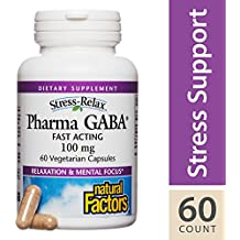 Natural Factors - Stress-Relax Pharma GABA 100 mg, Natural Support for Focus, Calm, and Relaxation, 60 Vegetarian Capsules