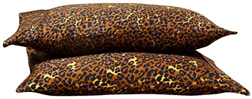 Leopard Print 600 Thread Count 100% Cotton Sateen for Maximum Softness and easy Care,Quality 2 Pack of Pillowcases, Silky Soft & Wrinkle Free (ALL COLORS/SIZES)-Square Size BY- Aashi by Aashi Rainwear