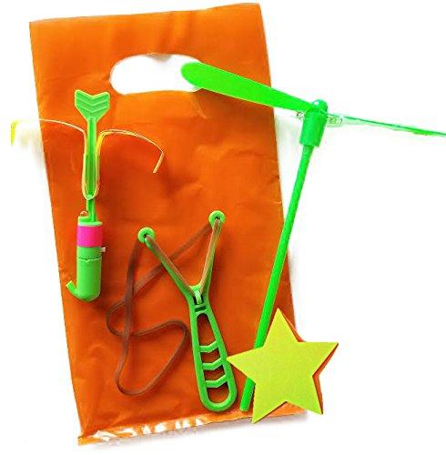 Goody Filled Bag (Ultimate Favor for Kids, 6 Prefilled Bags with Rocket Slingshot Helicopter Flyers and Light Spinner Lifetime)