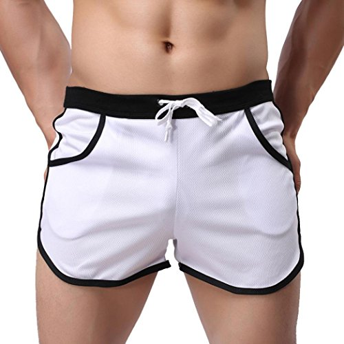 Loose Fit Boxer Underwear (Men's Shorts,Neartime Loose Shorts Mens Trousers Sport Casual Pants (M, White))