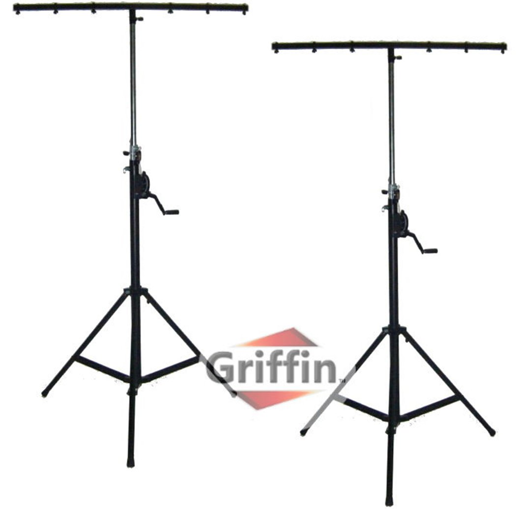 Crank Up Dj Light Stands (2 Pack) Stage Lighting Truss System by Griffin   Portable Speaker Tripod   Heavy Duty Standing Rig   Adjustable Height Trussing Holds 6 Can Lights Music Performance Equipment