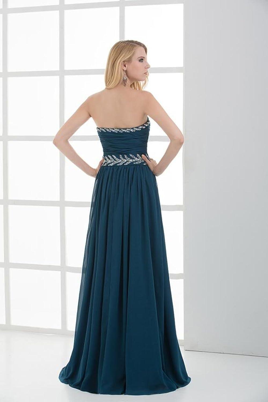 GEORGE BRIDE Blue New Design Full-Length Ruched Evening Dress