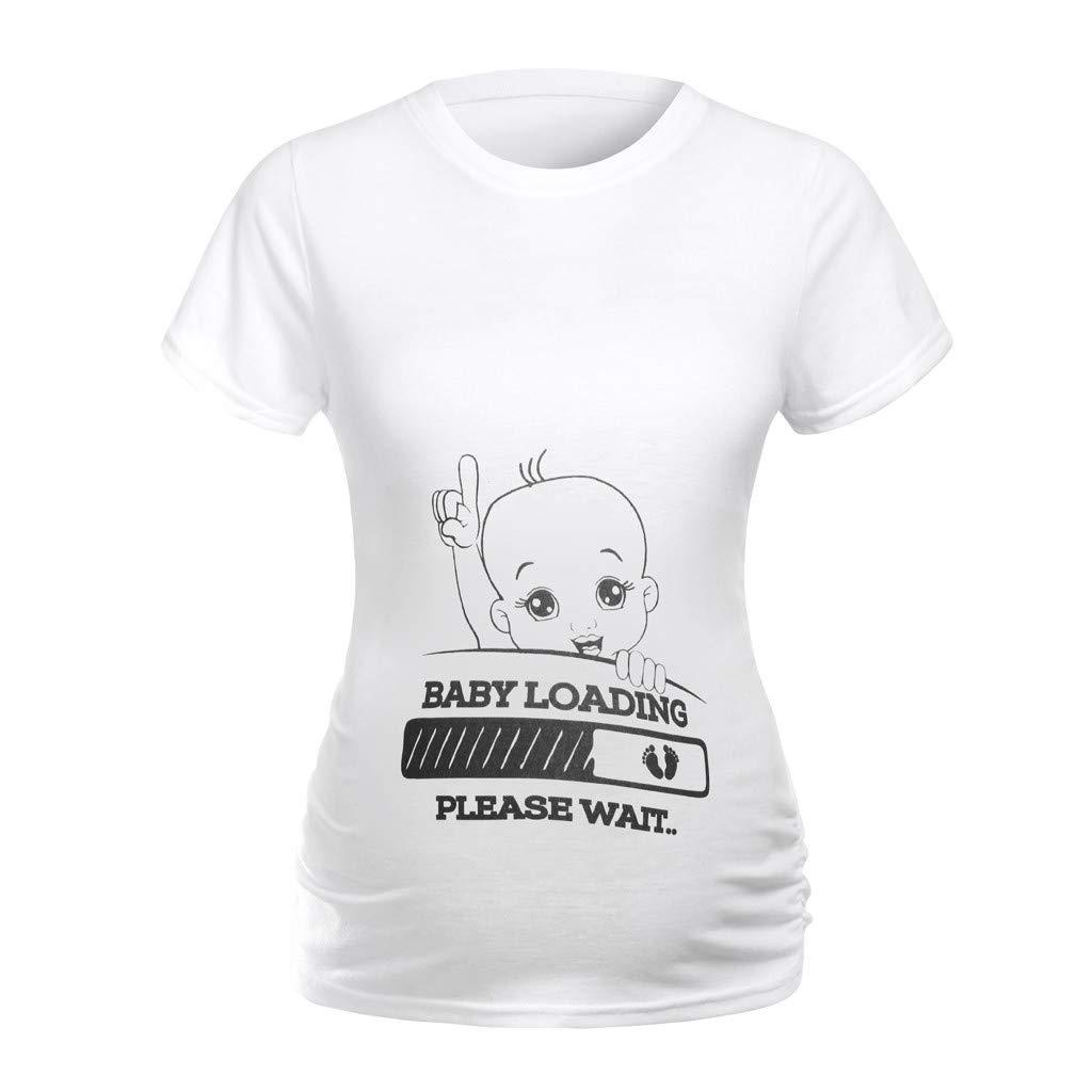 Women Maternity Clothes Short Sleeve Cartoon Pregnancy T-Shirt Top Blouse (S, Black)