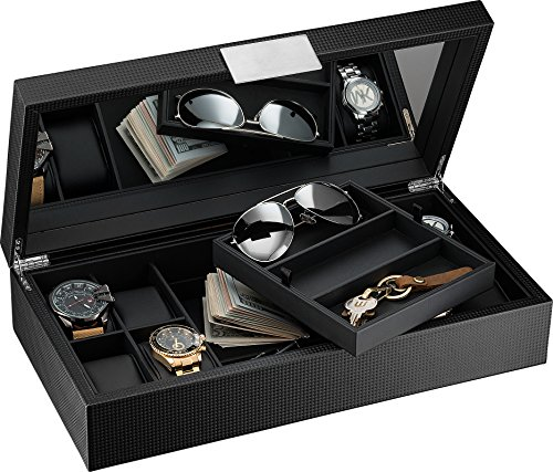 Sunglasses Box with Valet Tray for Men -14 Slot Luxury Display Case Organizer, Black Carbon Fiber Design for Mens Jewelry Watches, Men's Storage Holder w Large Mirror, Metal Buckle ()
