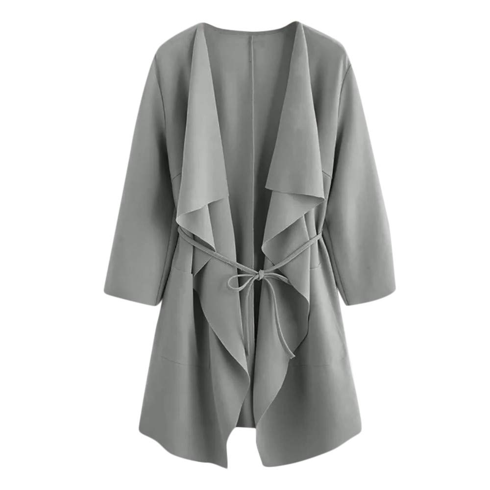 Women Casual Waterfall Cardigan Jacket Ruffle Front Wrap Coat with Belt