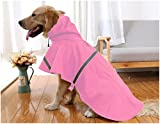 Mikayoo Large Dog Raincoat Ajustable Pet Waterproof Clothes Lightweight Rain Jacket Poncho Hoodies with Strip Reflective(Pink,XL)