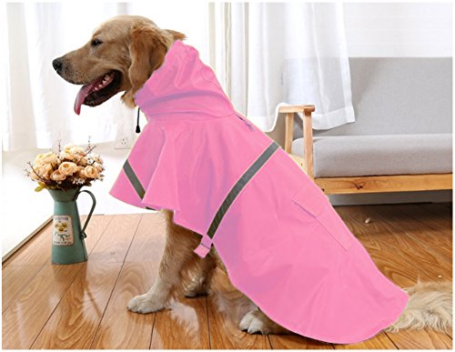 Mikayoo Large Dog Raincoat Ajustable Pet Waterproof Clothes Lightweight Rain Jacket Poncho Hoodies with Strip Reflective(Pink,XL) by Mikayoo