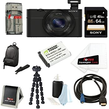 Sony Cyber-Shot DSC-RX100 20.2MP 3-Inch LCD Screen Digital Camera with 64GB SDXC Card and Premium Bundle (Black)
