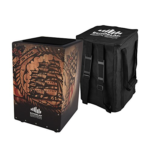 Echoslap GFX Ship Cajon, Black, Hand Crafted, 21 Coiled Snare Wires, Deep Bass, Maple Frontplate, Hardwood Body + Free Gig Bag by Echoslap Percussion