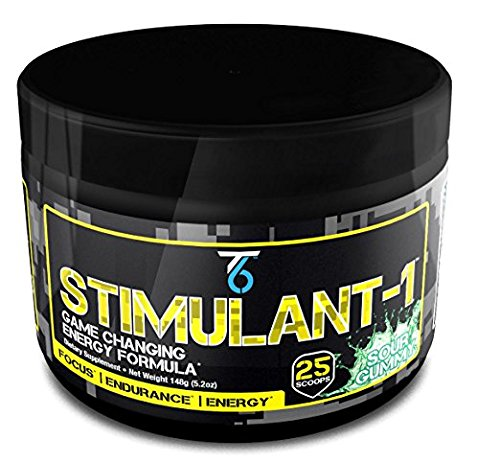 T6 Stimulant-1 Pre-workout and Extreme Focus Fat Burner, Nootropic Powder Drink Mix with Teacrine, Eria Jarensis and Taurine, Sour Gummy, 148 Gram
