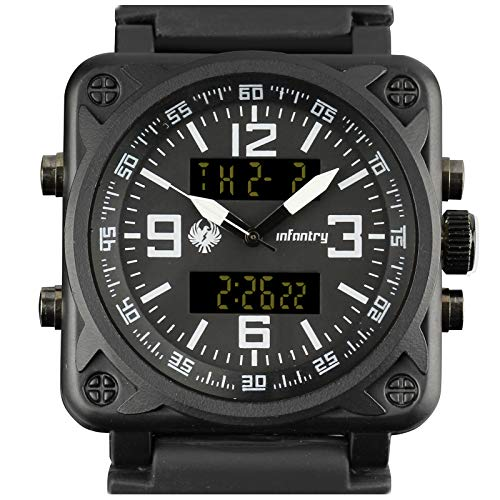 INFANTRY Mens Heavy Duty Big Face Dual Display Military Tactical Sport Wrist Watch Multifunction Black Silicone Band