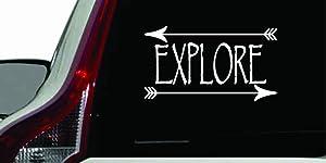 Explore Two Arrows Version 3 Car Vinyl Sticker Decal Bumper Sticker for Auto Cars Trucks Windshield Custom Walls Windows Ipad MacBook Laptop Home and More (White)