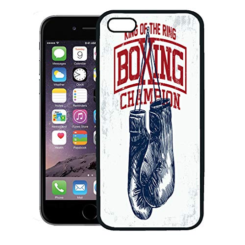 Semtomn Phone Case for iPhone 8 Plus case,Gym Vintage Boxing Gloves Works Kid Boy Sport Training Boxer iPhone 7 Plus case Cover,Black