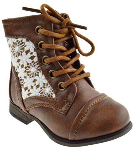 Chapter 30KA Baby Girls Combat Lace Up Boots Beige 7
