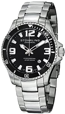 Stuhrling Original Men's 395.33B11 Aquadiver Regatta Champion Professional Diver Swiss Quartz Date Black Bezel Watch