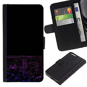 """A-type (Neon Paisaje nocturno"""") Colorida Impresión Funda Cuero Monedero Caja Bolsa Cubierta Caja Piel Card Slots Para Apple (5.5 inches!!!) iPhone 6+ Plus / 6S+ Plus"""