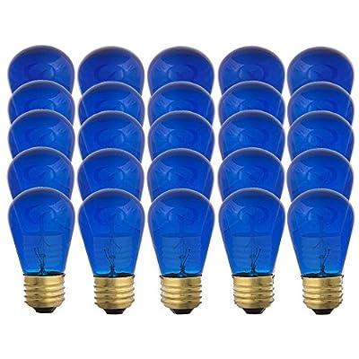 Blue S14-11w Bulb - Patio string light replacement Bulb - 25 Bulbs