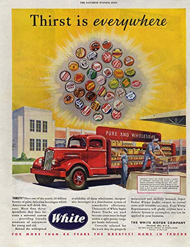 (Thirst is everywhere White Soft Drink Delivery Truck ad 1947 Coke Pepsi ++)