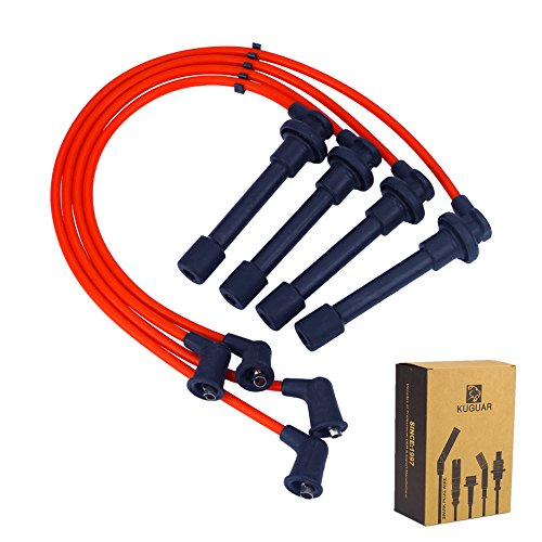 Spark Plug Wires Sets Igniton Silicone Performance Cable Leads for Honda Accord Civic Acura CL EL Isuzu Oasis 1994-2002 1.6L 2.2L 2.3L ()