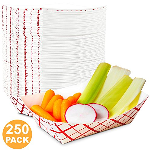 1 lb Heavy Duty Disposable Red Check Paper Food Trays Grease Resistant Fast Food Paperboard Boat Basket for Parties Fairs Picnics Carnivals, Holds Tacos Nachos Fries Hot Corn Dogs [250 Pack] by Fit Meal Prep (Image #7)