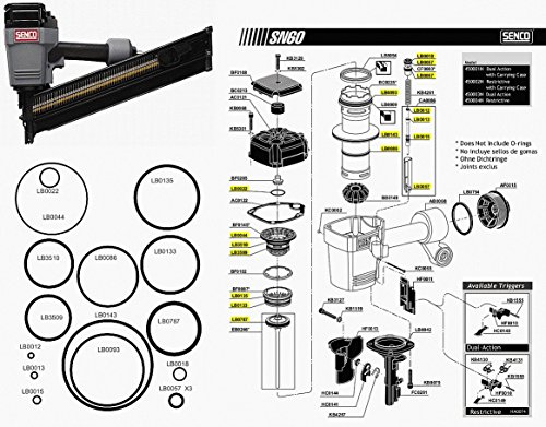 O Ring Replacement Rebuild Kit For Senco Framing Nailer SN60 SN65 (Framing Nailer O-ring)