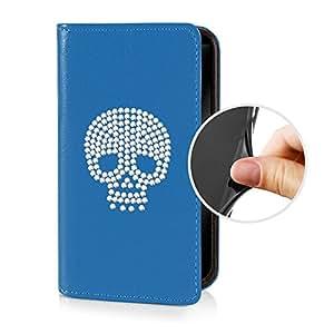 eSPee SZ3S058 tipo libro de piel sintética con tapa de calavera, de silicona y cierre magnético para Sony Xperia Z3 azul