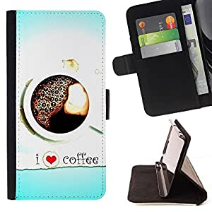 For Samsung Galaxy S4 Mini i9190 I Love Coffee Heart Blue Black White Beautiful Print Wallet Leather Case Cover With Credit Card Slots And Stand Function