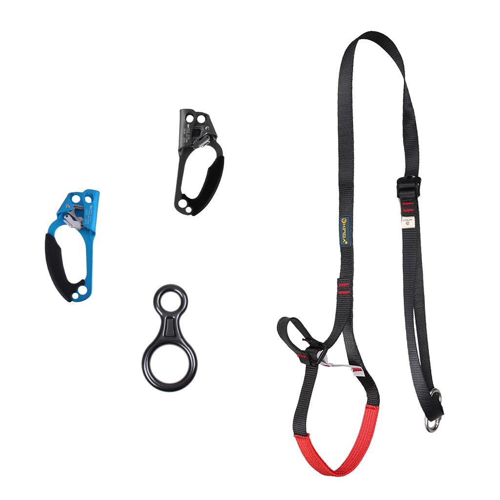 Dovewill Safety Outdoor Climbing Equipment Strong 31.5'' - 52.4'' Sling Ascender + Black Right & Blue Left Hand Ascender + 35KN Figure 8 Descender by Dovewill