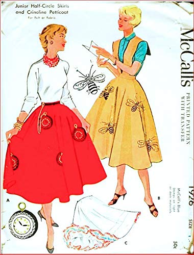 McCall's 1926 Misses Vintage 50's Circle Skirt with or Without Halter and Petticoat Sewing Pattern Transfer Included