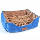 Leyden Rectangle Pet Bed Cat Dog Waterproof Reversible House Plush Cozy Nest Washable Mat Blue-M