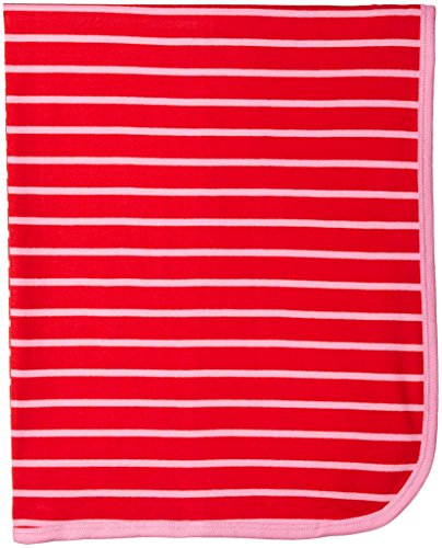 Coccoli Baby Girls' Pink/Red Stripejersey Knit Cotton Blanket, Cranberry/Begonia, One Size