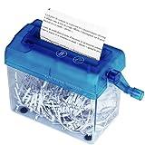 Tmarton Blue Portable Mini Manual Hand Shredder A6 Paper Documents Handmade Straight Cutting Machine Tool For Office Home Desktop Stationery