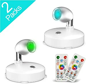 RGB Wireless Spotlight,LED Puck Light, LED Accent Battery Operated Lights with Remote, Dimmable Puck Light with Rotatable Light Head for Painting Picture Artwork Closet 2pack (Silver)