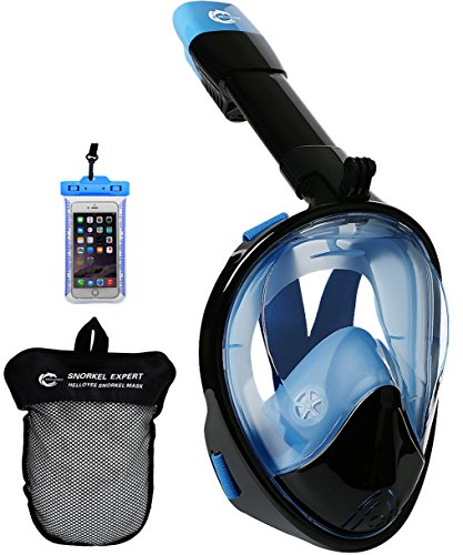 HELLOYEE Full Face Snorkel Mask for Adults Kids Panoramic View Snorkeling Mask Free Breathing Anti-Fog Anti-Leak Design with Detachable Camera Mount (Black-Blue, L/XL)