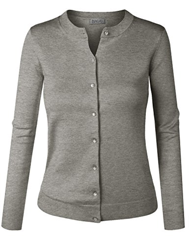 BIADANI Women Pearl Button Down Long Sleeve Soft Knit Cardigan Sweater Heather Grey 2 - Button Grey Pearl