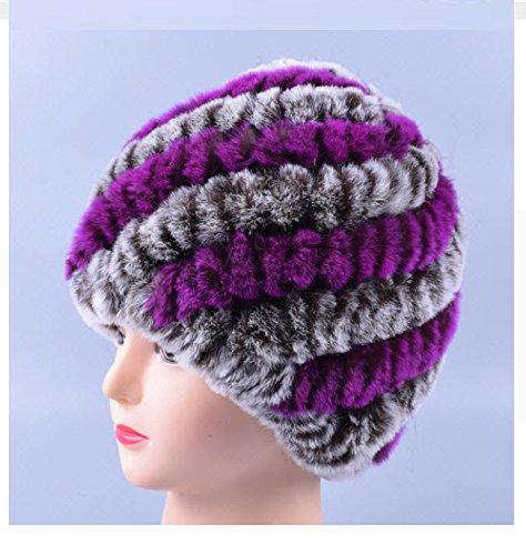 New Design Genuine Rex Fur Pom poms Snow Cap Winter Hats for Girls Skull Cap Real Fur Knitting Rabbit Skullies Beanies Women Hats (Coffee Purple)