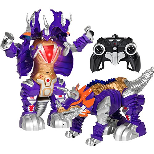 Best Choice Products Kids Transformer Remote Control Robot Dinosaur Car w/USB Charger, Lights, and Sounds -Purple/Gold