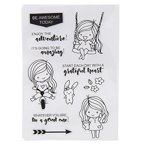 Girl Album Little (BetterUS Little Girl Clear Stamps For DIY Scrapbooking Photo Album Decoration Card Making Supply)