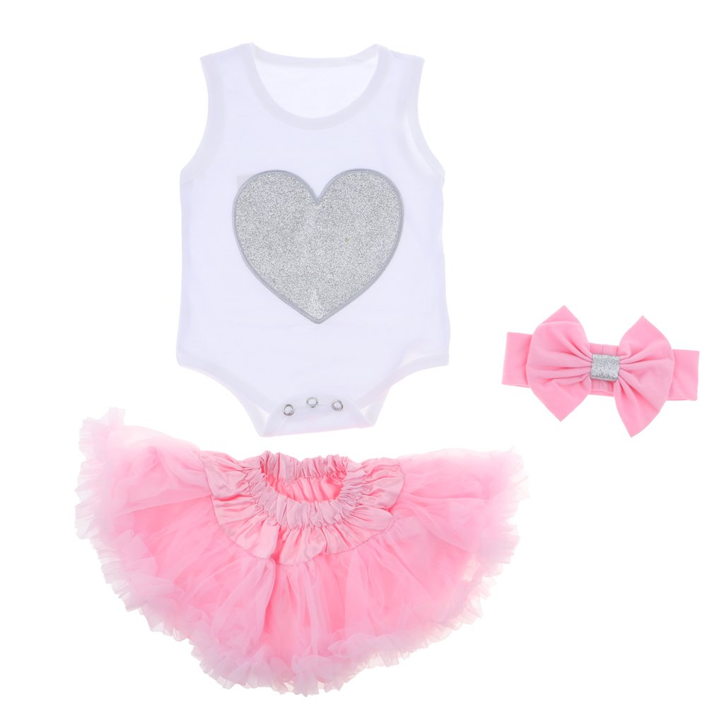 Prettyia Cute Rompers Skirt Bowknot Headband Suit for 22-23inch Reborn Baby Girl Dolls Clothes Accessories