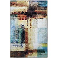 Junovo Stylish Abstract Collection Area Rug for Living Room Bedroom Dining Room,5 x 8,Coast