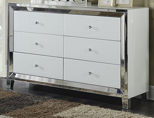 Best Quality Furniture AC47 Six Drawer Cabinet Silver Mirror and White