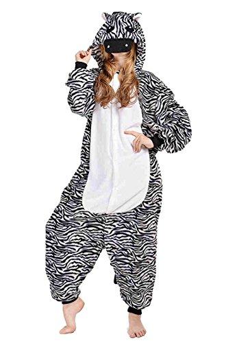 BELIFECOS Unisex Adult Pajamas Plush One Piece Cosplay Animal Costume (L,Zebra) (Zebra Costumes For Adults)