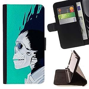 BullDog Case - FOR/Sony Xperia M2 / - / TEAL WHITE BLACK SKULL BLUE FLAMES /- Monedero de cuero de la PU Llevar cubierta de la caja con el ID Credit Card Slots Flip funda de cuer