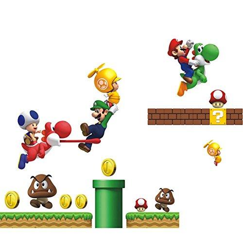 (DoubleChin Mario Brothers Wall Decal Sticker - Kid's Room Nursery Playroom Decor)