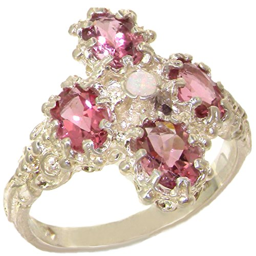 - 925 Sterling Silver Real Genuine Opal and Pink Tourmaline Womens Promise Ring - Size 9