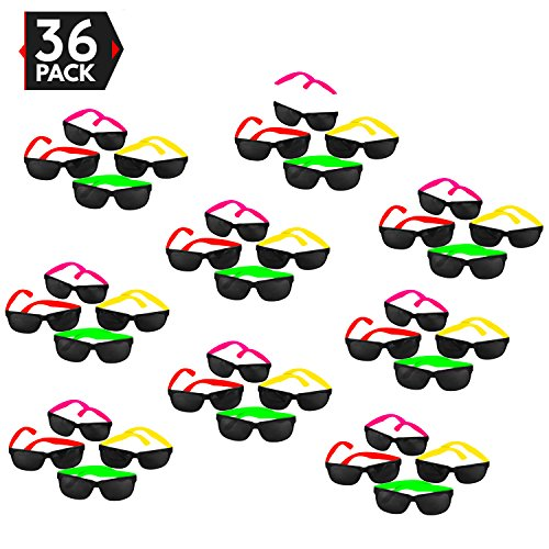 36 Pack 80's Style Neon Party Sunglasses – Fantastic Party Pack Favors, Party Toys For Goody Bags by Big Mo's - Novelty Sunglasses Pack